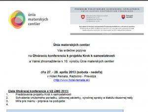 Pozvánka na valné zhromaždenie 2013