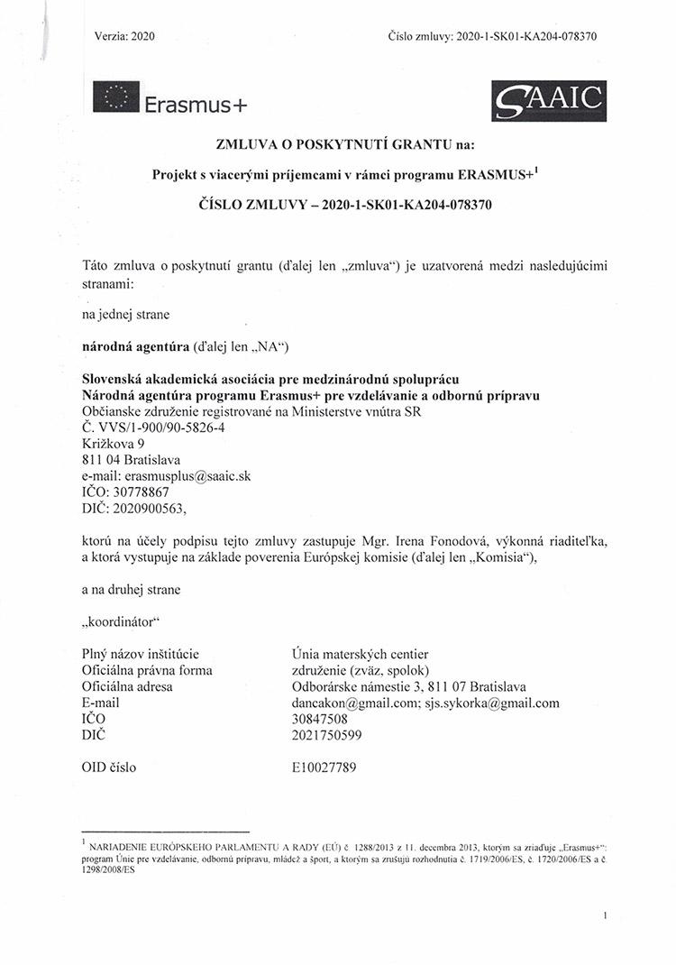 Zmluva o poskytnutí grantu Erasmus +